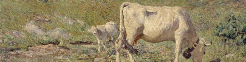 """Immagine da G. Segantini """"Pascoli di primavera"""" 1886 - particolare"""